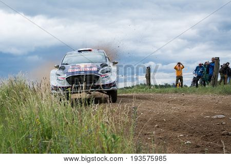 Mikolajki, Poland - 1 July 2017: Sebastien Ogier and his codriver Julien Ingrassia M-Sport World Rally Team in a Ford Fiesta WRC race in the 74nd Rally Poland, on July 1, 2017 in Mikolajki, Poland.
