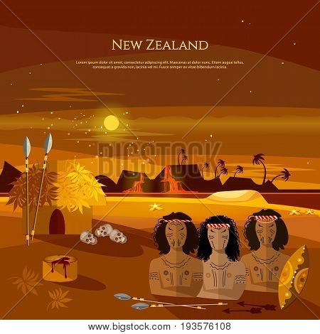 New Zealand. People of Maori tradition and culture. Mountains and beach landscape natives. Village of aboriginals Maori of New Zealand