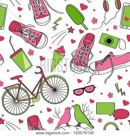 Cute teenager pattern with sneakers birds bike camera mobile telephone headphones icecream and drink. Green and brown palette