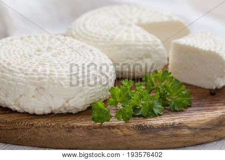 Sliced round white homemade cheese - traditional milk creamy dairy product on vintage wooden board. Rustic style.