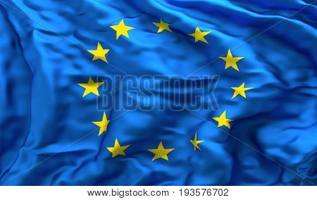 Full frame background of European flag blowing in the wind facing turbulence