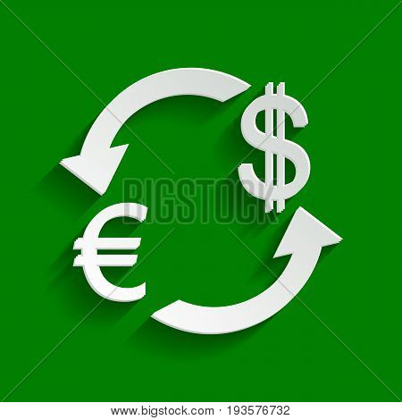 Currency exchange sign. Euro and Dollar. Vector. Paper whitish icon with soft shadow on green background.
