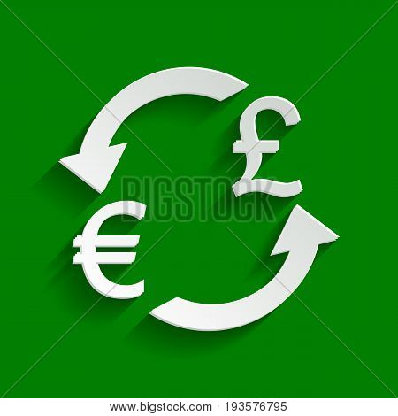 Currency exchange sign. Euro and UK Pound. Vector. Paper whitish icon with soft shadow on green background.
