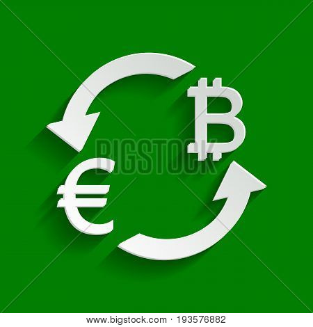 Currency exchange sign. Euro and Bitcoin. Vector. Paper whitish icon with soft shadow on green background.