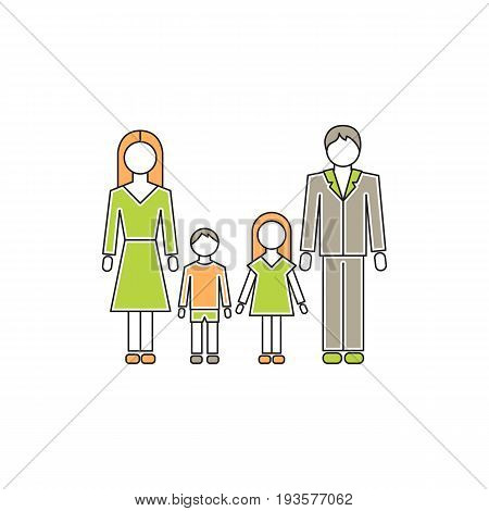 Vector thin line icon, family with children. Husband, wife and two kids. Metaphor of happy family relations. Colored isolated symbol. Simple mono linear modern design.