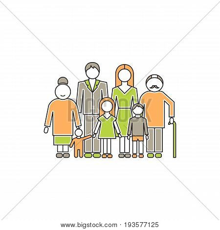 Vector thin line icon, big family with children parents and grandparents. Metaphor of happy family relations. Colored isolated symbol. Simple mono linear modern design.