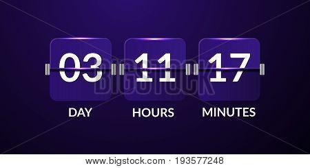 Flip Countdown Timer Violet Design Vector Eps 10