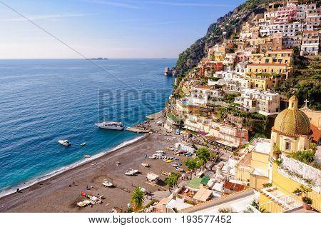 Positano beach in autumn - Amalfi Coast, Campania, Italy