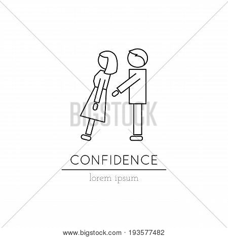 Vector thin line icon, one person catching another. Metaphor of confidence and trust in a relationship. Logo template illustration. Black on white isolated symbol. Simple mono linear modern design.