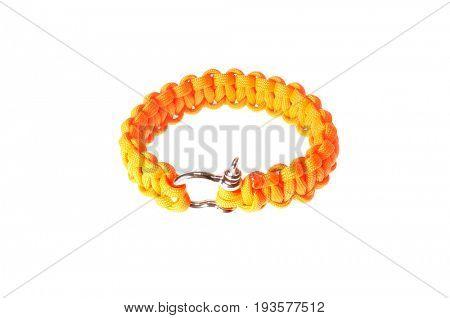 Colbert, WA - June 9, 2017: Paracord survival bracelet made in the USA, in hunter or blaze orange, illustrative editorial
