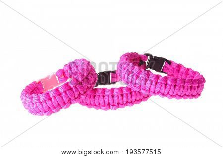 Colbert, WA - June 9, 2017: Paracord survival bracelets made in the USA, in pink to support breast cancer, illustrative editorial