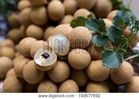 Fresh longan organic fruit close up for background