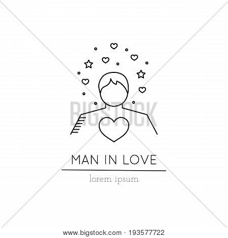 Vector thin line icon, man in love. Metaphor of amorousness and affection. Logo template illustration. Black on white isolated symbol. Simple mono linear modern design.