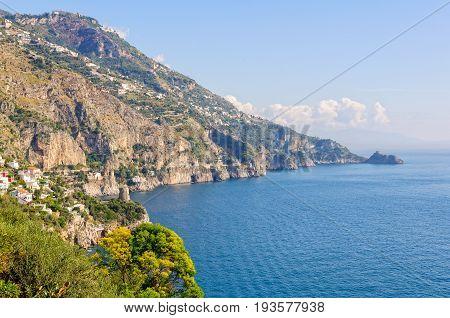 The beautiful bay of Praiano is between Positano and Amalfi - Amalfi Coast Campania Italy