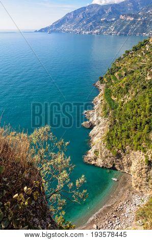 Small secluded beach on the Amalfi Coast Campania Italy