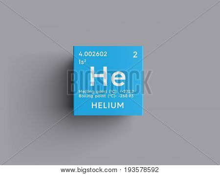 Helium. Noble gases. Chemical Element of Mendeleev's Periodic Table. Helium in square cube creative concept.