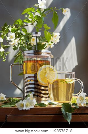 A French press and a cup of tea on a wooden table with an overhanging branch of jasmine.