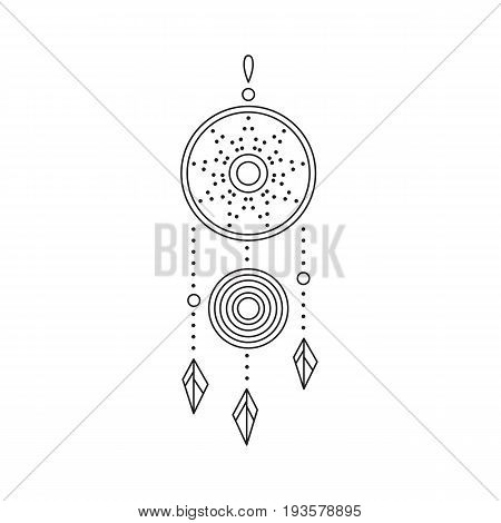 Tribal vector thin line icon, native indian talisman dreamcatcher. Boho element, bohemian style, ethnic american symbol. Black on white isolated illustration. Simple mono linear modern design.