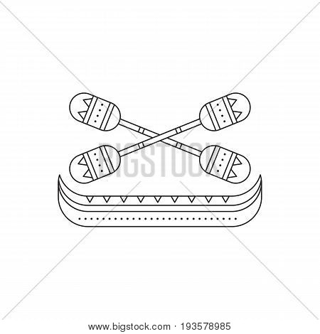 Tribal vector thin line icon, Pirogue with oars. Boho element, bohemian style. Logo template. Isolated illustration. Simple mono linear modern design.