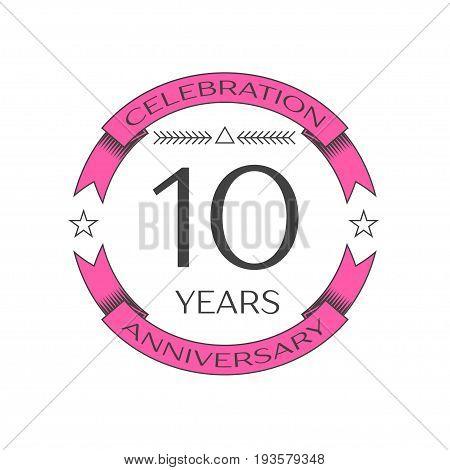 Realistic ten years anniversary celebration logo with ring and ribbon on white background. Vector template for your design