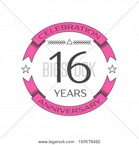 Realistic sixteen years anniversary celebration logo with ring and ribbon on white background. Vector template for your design