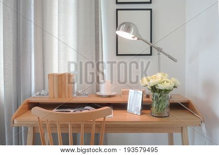 Modern Classic Style Wooden Working Table With Modern Style Reading Lamp In Working Corner