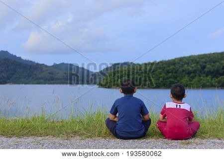 Love of friend,Or brother and brother are happy with looking of nature view.