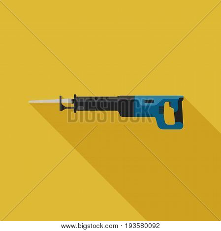 Reciprocating Saw flat icon with long shadow. Vector illustration of electric tool.