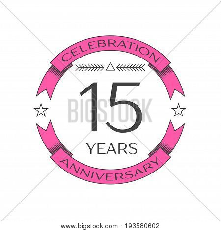 Realistic fifteen years anniversary celebration logo with ring and ribbon on white background. Vector template for your design