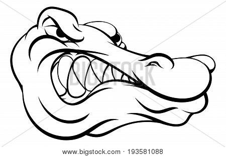 A crocodile or alligator cartoon character sports mascot head