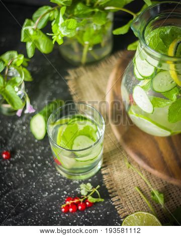 Water Detox In A Glass Jar And A Glass. Fresh Green Mint And Berries. A Refreshing And Healthy Drink
