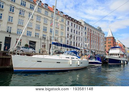 Nyhavn a historic canal and entertainment district in Copenhagen Denmark.