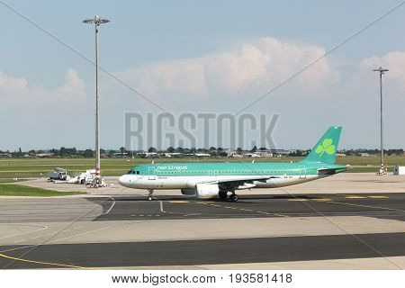 Lyon, France - May 27 2017: Aer Lingus airplane at Lyon airport. Aer Lingus is the flag carrier airline of Ireland and the second-largest airline in Ireland
