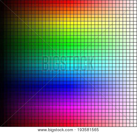 Color spectrum mosaic hue and brightness on black background. Vector illustration