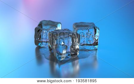 3D Ice cubes. Group of cold ice cubes over gray background. 3D rendering.