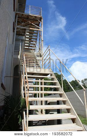 Rustic metal stairs that was once a fire escape