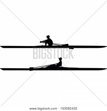 man with a cap practice kayak sport silhouette vector
