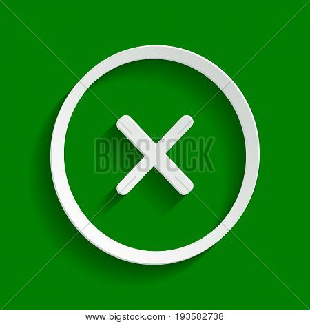 Cross sign illustration. Vector. Paper whitish icon with soft shadow on green background.