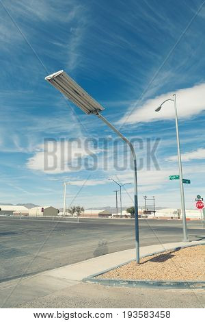 street lamp on the road with blue sky with filter effect