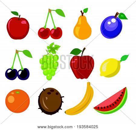 Set of fruit vector illustration fresh food