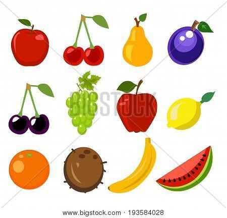 Set of fruit illustration on white background