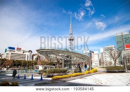 NAGOYA JAPAN - January 16, 2017: Winter of Oasis 21 and TV Tower in Sakae. Oasis 21 is a modern facility located adjacent to Nagoya TV Tower in Sakae.