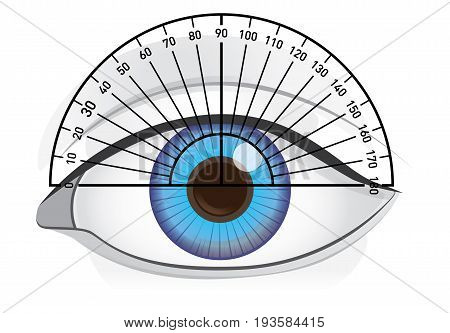 Blue eye of woman with protractor for angles check. Illustration about vision and eyesight.