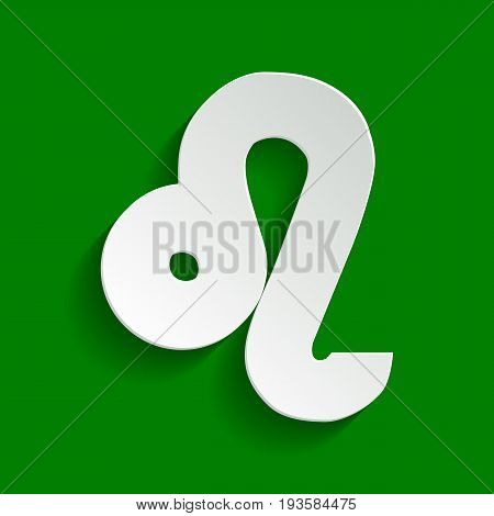 Leo sign illustration. Vector. Paper whitish icon with soft shadow on green background.