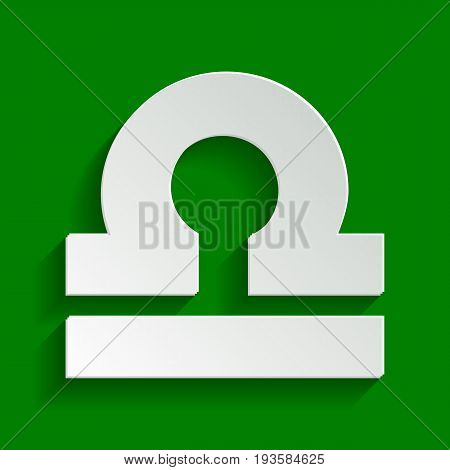 Libra sign illustration. Vector. Paper whitish icon with soft shadow on green background.