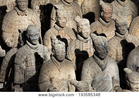 Xian China May 29 2017 The world famous Terracotta Army part of the Mausoleum of the First Qin Emperor and a UNESCO World Heritage Site located in Xian China