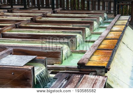 Yubatake Onsen, Hot Spring Wooden Boxes With Mineral Water