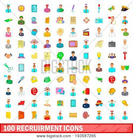 100 recruitment icons set in cartoon style for any design illustration