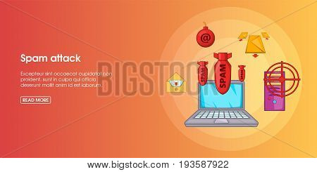 Spam attack horizontal concept. Cartoon illustration of spam attack banner horizontal vector for web