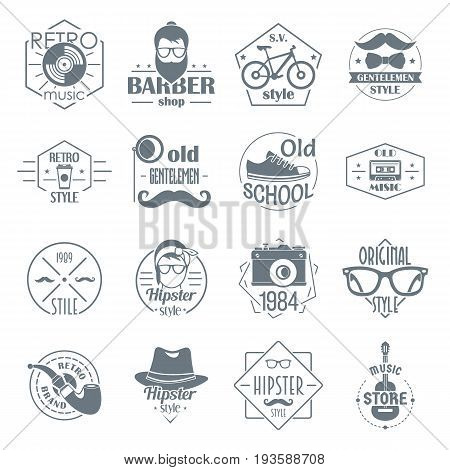 Hipster logo vintage icons set. Simple illustration of 16 hipster logo vintage vector icons for web